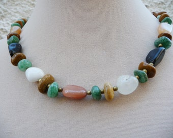 Mothers Day Gift Neclace Natural Gemstone Green Jade Multi Colored Necklace Hippie Necklace Nephrite Green Jade Beaded Necklace