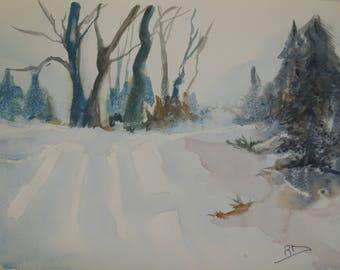 watercolor on paper landscape snow