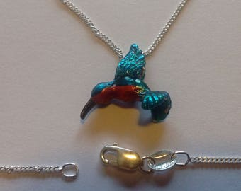 Retro hovering ruby throated hummingbird Sterling silver charm pendant enameled blue green red vintage