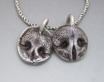 Dog Nose Prints - Necklace in Fine Silver - Personalized for Small Dogs