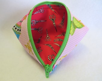 Gift Bag - Coin Purse - Zipper Pouch - Mini Storage Pouch - Fabric Pouch - Cosmetic Bag - Wonder Clip Bag - Sewing Pouch - Sweet Pea Pod