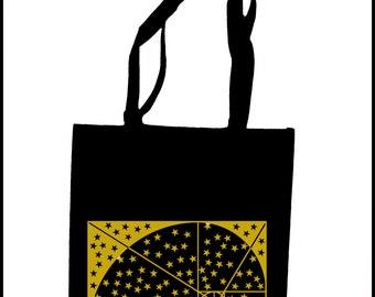 Stay Golden Stars Tote Bag  Screen Print Black Sacred Geometry Golden Ratio