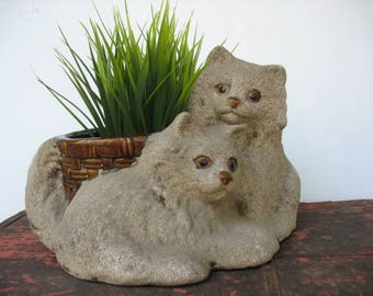 Vintage Cat Planter 2 Kittens With Basket Kitsch Ceramic Pottery By Haeger Animal Indoor Plant Holder Container U.S.A.