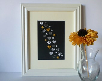 Paper Heart Wall Art – Black, White with Pops of Gold Print (Private Listing)