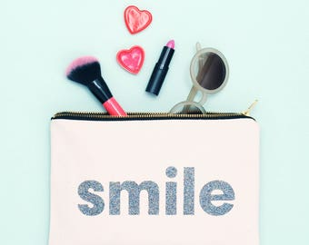 Makeup Pouch For Her - Canvas Pouch For Her - Makeup Bag For Friend - Makeup Bag Birthday Gift - Cheer Up Gift - Smile Pouch - Alphabet Bags