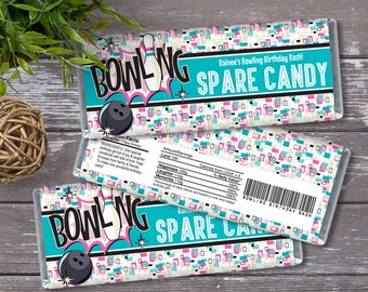 Bowling Party Candy Bar Wrappers - Bowling Birthday, Bowling Favor, Party Favor, Pink/Turqoise | INSTANT Download Printable PDFs