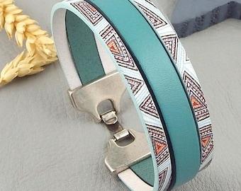 Ocean art deco silver plated clasp leather bracelet tutorial Kit