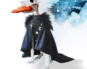 Jon Snow Costume for Dogs, Game of Thrones, Cape, Direwolf, House of Stark, Winterfell, Night's Watch, Fur Cloak, A Song of Fire and Ice
