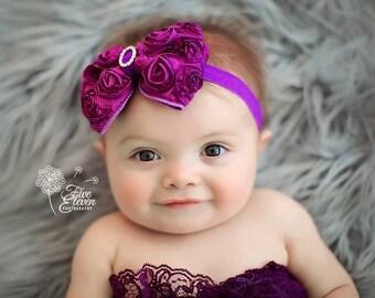 Purple Hair Bow, Plum Satin Rosette Hair Bow w/ Crystal Center Stretchy Purple Headband or Hair Clip - The Virginia - Vintage Inspired