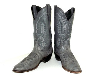 Vintage Grey Cowboy Boots size 10.5 B with white, blue, and black design