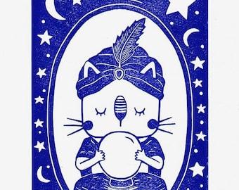Clairvoyant Cat  - Lino Print