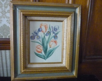 Iris and Tulips - Louise Rivers Theorem painting - work on velvet - signed by artist Excellent condition - 18  x 15.5 x 2 in framed art