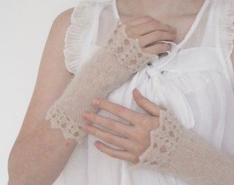 Fingerless Gloves Knit Arm Warmers, Wrist Warmers, Knit Fingerless Gloves, Hand Warmers, Gift for Her, Texting Gloves, Lace Bridal Gloves