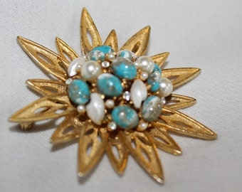 BSK Vintage Starburst Atomic Clock Turquoise and Gold Pearl Cluster Rhinestone Pin Brooch Marked Unusual