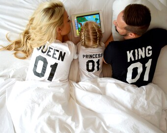 King and Queen 01 Princess 01 Father Mother Daughter T-shirts, King and Queen shirts, UNISEX