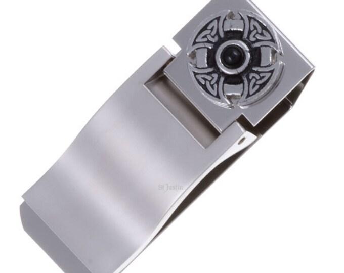 Gemstone cross money clip-Triangular knot- Hand Made and Design in UK