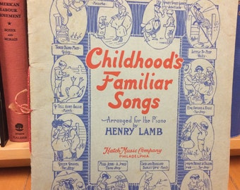 Childhood's Familiar Songs Arranged for the Piano by Henry Lamb / Vintage Book / Song Book / Music / Piano Music /Children's Book / Songs