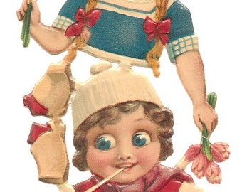 Antique Christmas Die Cut Germany L & B Boy Girl Googly Eyed Victorian Litho Embossed