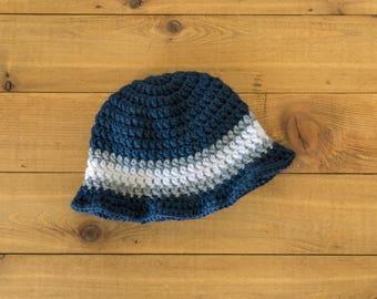 Crocheted Summer Sun Hat-- Navy, Gray, White-- Newborn to 3 Months