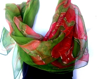 """Hand Painted Silk Scarf, Copper Burnt Orange May Green, Orchids Design, 35"""" Square Floral Silk Chiffon Scarf, Gift For Her"""