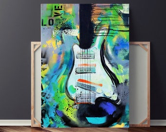 Guitar Painting, Painting on Canvas, Abstract Painting, Original Painting, Green Guitar Painting, Large Abstract Painting, Urban Painting