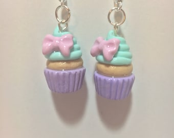 Kawaii Pastel Cupcake Earrings with Pink Bows
