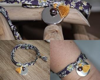 Bracelet 2 laps liberty tatum plum tie, medal sterling silver plated, Pearl black/purple, mustard tassel