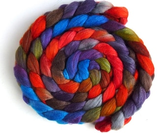 Zinnias During Dusk, Polwarth/Silk Roving - Handpainted Spinning or Felting Fiber