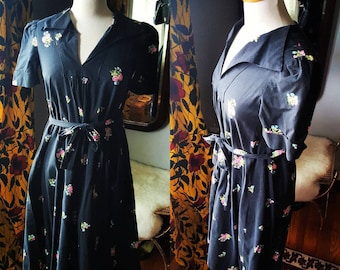 40's 1940s 40s Vintage Black Floral Print Small to Medium Maternity Cotton Dress Pinup Pin-up 50s 50's 1950s Pregnancy