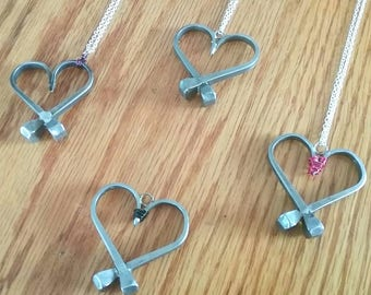 Hand Forged Horseshoe Nail Heart with Wire Accent on Silver Plated Chain, Your Choice of Color!