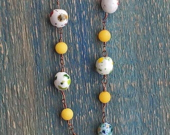 Found Beach Pottery Pendant with Hand Painted Ceramic Beads