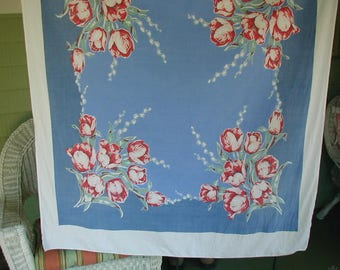 "Vintage Mid-Century Tablecloth, Denim Blue, White and Red, Large Scale Flowers  100% Cotton, 54 1/2 x 46"", Picnic Tablecloth, Shabby Cottage"