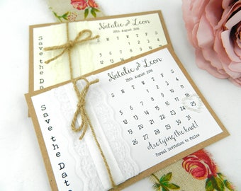 Vintage Rustic Wedding Save the Date cards twine, lace & ribbon
