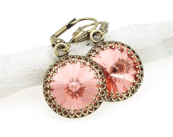 Romantic Vintage Inspired Pink Earrings - Antique Brass Bronze Earrings with Swarovski Crystal Rose Peach Pink Hue Valentines Gift for Women
