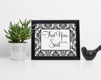 Damask Find Your Seat Sign, Find Your Table Sign, Seating Sign Wedding, Seating Sign For Wedding, Escort Cards Sign, Escort Table Sign