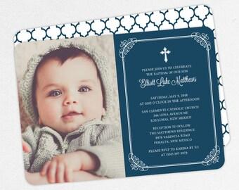 Photo Baptism Invitation, Christening Invitation, Boy Baptism Invitation, Printable Baptism Invitation, Invite PDF, Modern, Navy, Elliott