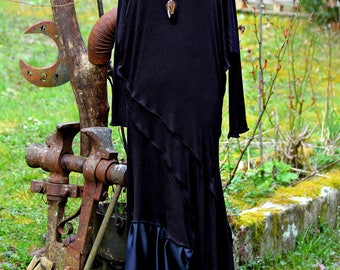 "long dress in jersey and satin ""cocoa"""