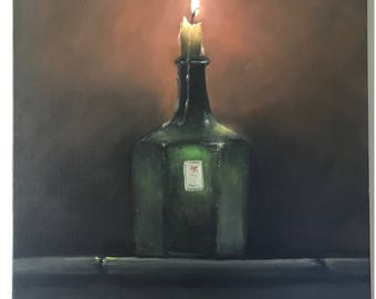 Large flame Still life oil painting Dining Room art Candle Wall Art flame Wall decor Original oil painting Living room art Large Painting