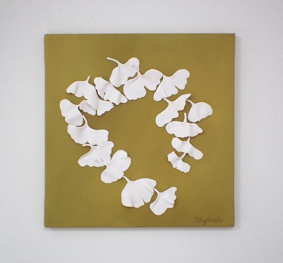 Ginkgo Leaves Wall Sculpture 3D Ginkgo Biloba Clay Wall Art