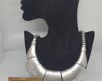 Ethnic bib statement necklace