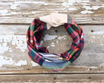 Multi Color Plaid Baby Scarf Snap Scarf with Snaps Baby Bibdana Tan Baby Winter Scarf Snap Back Bib Scarf Gifts for Baby Hipster Style