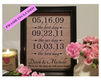 Valentines Day Gift, The First Day The Yes Day The Best Day, Personalized Dates, Engagement Gift, Personalized Wedding Gift, Anniversary
