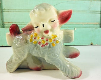 Vintage Little Blue and Pink Lamb Planter