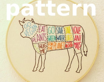 Vegan cow modern hand embroidery pattern - instant digital download PDF in english and spanish - vegan beef cuts modern embroidery