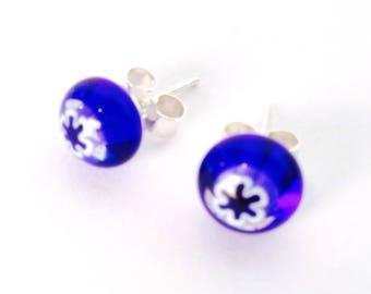 Murano Glass Millefiori Stud Earrings - Blue Flower on Sterling Silver Stud Post