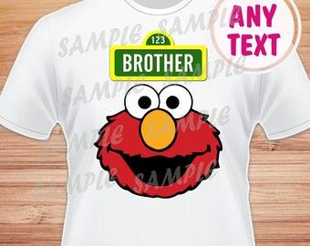 Brother. Sesame Street Elmo Digital File. Printable Iron on Transfer. Family Birthday Shirts. Elmo Instant Download.