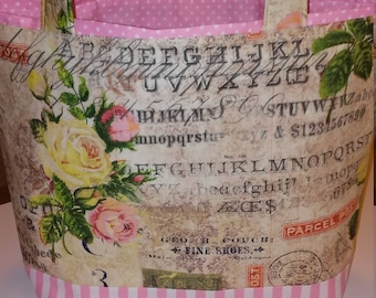 Shabby Chic Style Tote/bag, pink, roses, yellow, flowers, postal, made in the US, Valentine gift