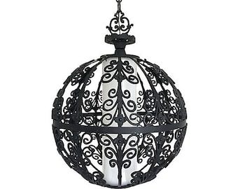 Feldman Wrought Iron Globe Pendant Light