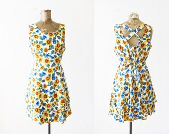 90s dress - sunflower dress - 90s floral mini dress - spring floral sundress - criss cross back dress - vintage 90s sundress S M