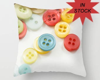 Colorful Button Photo Pillow Cover, Sewing Room Home Decor, White Throw Cushion, Craft Room Accent,Handmade Gift for Seamstress, Dressmaker